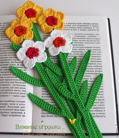 """Купить """"Нарцисс"""" вязаная закладка - закладка, вязаная закладка, закладка для книги, цветок, 8 марта"""