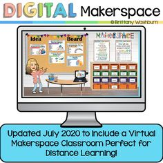 Updated July 2020 to include a Virtual Classroom Makerspace! This means that your students don't need to print anything out to complete the activities. Perfect for distance learning or working with limited supplies in the classroom. You can add your Bitmoji to the Virtual Classroom for a personal touch. Technology Lessons, Technology Tools, Educational Technology, Library Lessons, Library Ideas, Library Activities, Media Specialist, Computer Lab, Librarians