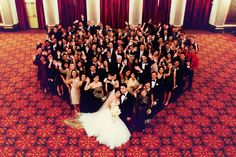 Wedding photo idea: group photo of wedding party and guests in heart shape! Wedding Photographer: Jasmine Wang Photography Wedding Ceremony and Reception Venue: Westin St. Classic Fashion Trends, Wedding Ceremony, Reception, Trina Turk Dresses, St Francis, How To Pose, Wedding Photo Inspiration, Wedding Pictures, Wedding Colors