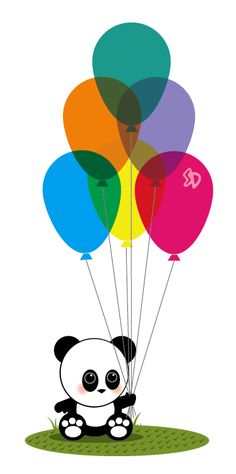 Panda balloon illustration #panda #balloon #illustration