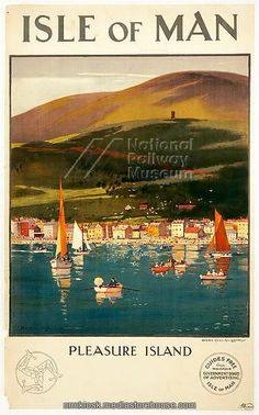 Vintage Travel Poster - Isle of Man - showing Ramsey and Mooragh Park with Sky Hill and the Albert Tower in the background - UK. Posters Uk, Railway Posters, Poster Ads, Vintage Advertising Posters, Vintage Travel Posters, Vintage Advertisements, Manx, British Travel, Isle Of Man