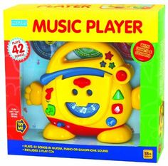 "megcos Music Player with 3 CDs by megcos. $27.99. From the Manufacturer                Megcos Toy Company Ltd, educational products item 1216 - Music Player. See item description below for further details.                                    Product Description                18+ months  Use 2 ""(AA"") batteries. 7 H X 9 W X 1 1/2 "" D Light enough for kids to carry."