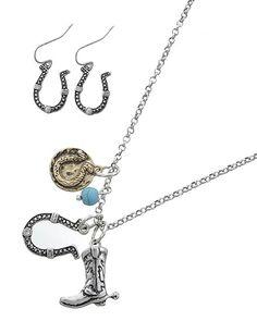 Horseshoe Cowboy Boot Necklace & Earring Set