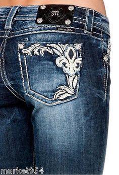 Dark Blue Skinny Miss Me Jeans Art Nouveau Fleur de Lis JP5853S4 Leather pocket