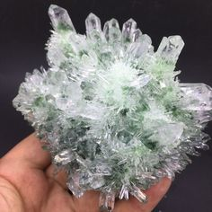 673g BEST! beautiful green ghost crystal Quartz Crystal Cluster Vug Specimen 145