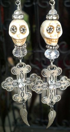 SKULL EARRING. Sugar Skull Earring. Wing by SecretStashBoutique, $14.99