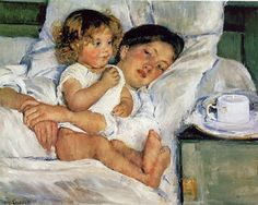 Mary Cassatt Breakfast in Bed oil painting for sale; Select your favorite Mary Cassatt Breakfast in Bed painting on canvas or frame at discount price. Mary Cassatt, Edgar Degas, Pierre Auguste Renoir, Manet, Berthe Morisot, Breakfast In Bed, Fine Art, Mother And Child, Oeuvre D'art