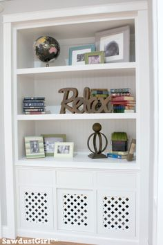 Built-in bookcase and Dog Crate