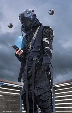 A genre of science fiction and a lawless subculture in an oppressive society dominated by computer technology and big corporations. Mode Cyberpunk, Cyberpunk Clothes, Cyberpunk Aesthetic, Cyberpunk Fashion, Fantasy Character Design, Character Design Inspiration, Character Concept, Character Art, Armor Concept