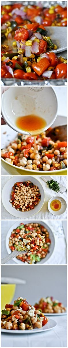 Roasted Summertime Chickpea Salad