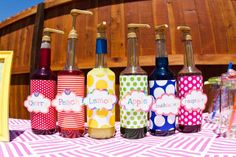 """A """"rainbow"""" of flavors for the Italian Soda Station. Rainbow Party drink booth"""