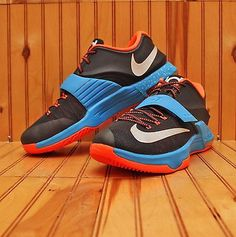 cec3c1bdecc2 2014 Nike KD VII 7 OKC Thunder Away Size 13 - Black Blue Orange - 653996
