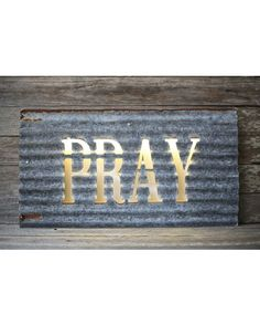 "LED Illuminating ""Pray"" Sign - Gray/Rust"