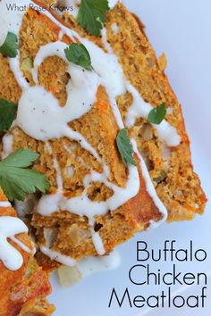 Love this Buffalo Chicken Meatloaf recipe. So easy to make and tastes just like you are eating boneless buffalo chicken wings! #buffalochicken #meatloaf #easyrecipe