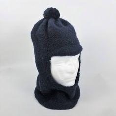 6492a7a3ebf6b Vntage LL Bean Wool Ski Mask Hood Balaclava Script Tag Pom Pom Hat Made in  Scotland