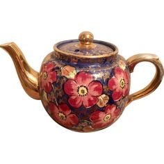 Price Brothers Cobalt with gold leaf Teapot, hallmarked and numbered. England, circa 1934 -1961 - English china floral teapot