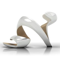 The Mojito shoe by architect/shoe designer Julian Hakes - 'Hakes presents Mojito, a shoe that has no sole and no upper but instead supports the foot on a continuous loop.' -- 'Called Mojito, the design consists of a single piece that wraps around the wearer's foot, forming support for the heel and ball.' (via Dezeen) #shoedesign #shoes #heels