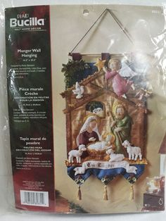 Bucilla Nativity Manger Felt Christmas Wall Hanging Kit NIB #85331 #Bucilla #WallHanging
