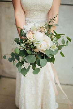 DIY bouquet with eucalyptus. Wedding at Ruby Nashville. Nashville wedding photography | Jacoby Photo and Design.