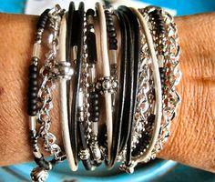 Boho Chic Endless Leather Wrap Beaded Black and by LeatherDiva, $38.00
