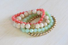 4 strand stretchy beaded bracelets in coral by KylieBrynDesigns, $40.00