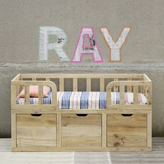 Image of RAY toddler bed & sofa XO in my room Toddler Bed With Storage, Diy Toddler Bed, Toddler Rooms, Toddler Beds For Boys, Pallet Toddler Bed, Wooden Toddler Bed, Toddler Sofa, Cama Junior, Junior Bed