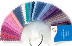 45 beautiful laminated fabric colour swatches for True Summer, including a selection of best colours and neutrals Individual colour swatches in swatch book can