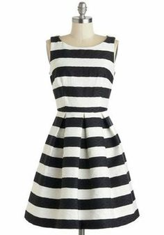Stripped  Dress Black and White