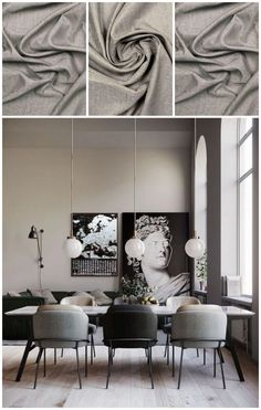 Dining room curtains Dining Room Curtains, Silk Curtains, Living Room Grey, Window Treatments, Design Inspiration, Afro Hairstyles, Mood Boards, Shades, Modern Dining Rooms