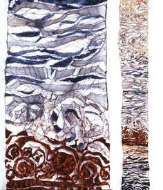 Jean's new work is wonderfully ethereal--this one representing the layers of earth and fossils at the shore, I believe. Textile Fiber Art, Textile Artists, Fibre Art, Textiles, Textile Patterns, Embroidery Applique, Machine Embroidery, Water Soluble Fabric, Creation Art