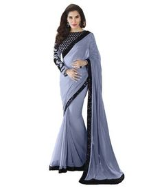 Royal Gray Faux Georgette Saree Price in India - Buy Royal Gray Faux Georgette Saree Online at Snapdeal