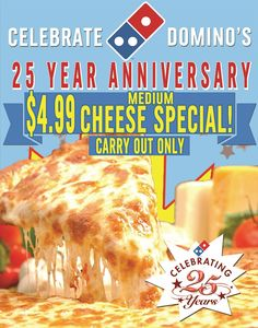 Back by popular demand! $4.99 medium cheese carryout special! This week ONLY!