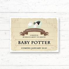 Harry Potter Printable Baby Announcement Card Pregnancy Card by CrissyDesignCo Baby Animal Games, Harry Potter Printables, Who Knows Mommy Best, Baby Announcement Cards, Harry Potter Baby Shower, Fingerprint Tree, Chocolate Frog, Whats In Your Purse, Baby Bingo