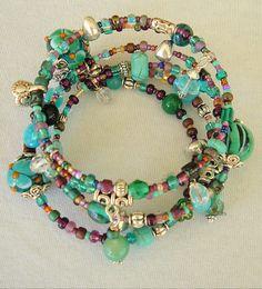 Layered Turquoise Bracelet Southwest Bracelet by BohoStyleMe, $68.00