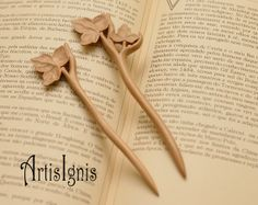 Ivy Leaves Hair Stick Pair Handmade Alder Wood Hair by ArtisIgnis, €30.00