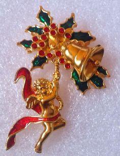 CHRISTMAS CHERUB ANGEL PIN BROOCH BELL HOLLY LEAVES SIGNED SMITHSONIAN AVON #Avon