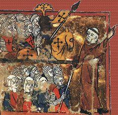 """Peter_the_Hermit.Pedro y su ejército  """"Comprometeos ya desde ahora; que los guerreros solucionen ya sus asuntos y reúnan todo lo que haga falta para hacer frente a sus gastos; cuando acabe el invierno y llegue la primavera, que se pongan en movimiento, alegremente, para tomar el camino bajo la guía del Señor"""". """"El que quiera venir en pos de mí, niéguese a sí mismo, tome su cruz y sígame"""" (Mateo 16,24). (Urbano II)  Y con el grito de Dieu lo volt (""""Dios lo quiere"""", el grito de guerra…"""