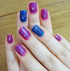 Unha da Semana no blog: rosa e azul!