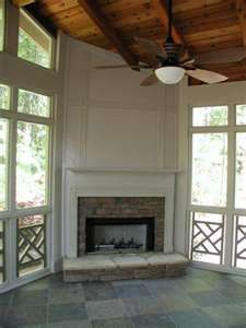 Screened Porch with Painted Corner Fireplace - Outdoor Living Photo . - Screened Porch with Painted Corner Fireplace – Outdoor Living Photo … - Porch Fireplace, Outdoor Gas Fireplace, Gas Fireplace, Freestanding Fireplace, Farmhouse Fireplace, Wood Burning Fireplace, Fireplace Bookshelves, Corner Fireplace, Screened Porch