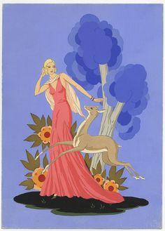 Giovanni Meschini  (Roma, 1888 - 1977) : Donna con cerbiatto.  - Asta Stampe e Disegni - Libreria Antiquaria Gonnelli -