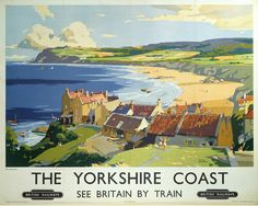 Poster, British Railways (North Eastern Region), 'The Yorkshire Coast', Posters Uk, Train Posters, Railway Posters, A4 Poster, Retro Poster, Poster Prints, Poster Wall, Art Prints, British Travel