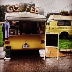 Manual Labour Coffee Truck serves out of the back end of a small RV