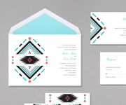 Wedding invitations combining black, cherry and aqua together is stunning in the southwestern-inspired tribal design. ideal for a southwest destination wedding.