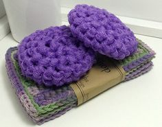 Purple Dish Scrubbies for Your Eco Kitchen by TheLotusShop