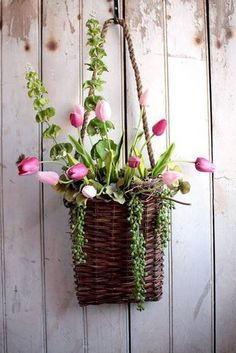 Items similar to Spring Tulip Wall Pouch – hanging basket – Easter wreath – spring wreath – nest egg on Etsy – House Plants Bloğ Fresh Flowers, Spring Flowers, Beautiful Flowers, Hanging Baskets, Wicker Baskets, Pink Tulips, Arte Floral, Flower Basket, Easter Wreaths