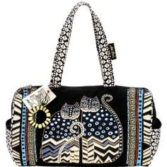 Laurel Burch Medium Satchel with Zipper Top, Spotted Cats