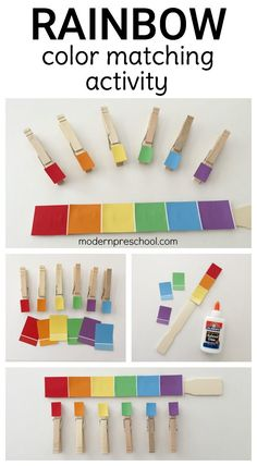 Rainbow paint chip fine motor color matching busy bag for toddlers and preschoolers.