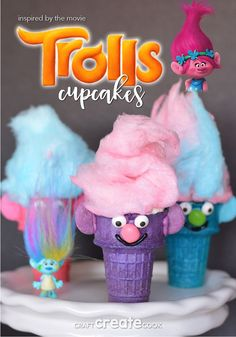 According to Poppy, Cupcakes and Rainbows are the perfect combination! These troll cupcakes are just that! According to Poppy, Cupcakes and Rainbows are the perfect combination! These troll cupcakes are just that! 4th Birthday Parties, 7th Birthday, Trolls Birthday Party Ideas Cake, Birthday Ideas, Birthday Sweets, Turtle Birthday, Carnival Birthday, Birthday Cupcakes, Troll Cupcakes