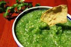 Get Salsa Verde: Green Tomatillo Salsa Recipe from Food Network Mexican Salsa Recipes, Veggie Recipes, Chutney, Tomatillo Salsa Recipe, A Food, Good Food, Frijoles Refritos, Chili Cook Off, Food Processor Recipes