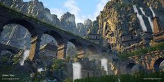 Ruins Growing Out Of Rocks Environment , Artem Titov Fantasy Places, Fantasy World, Fantasy Art, Elves Fantasy, Interesting Buildings, Fantasy Paintings, Matte Painting, Fantasy Landscape, Minecraft